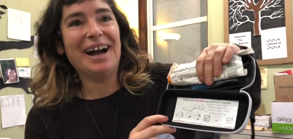 Chloe with Naloxone kit