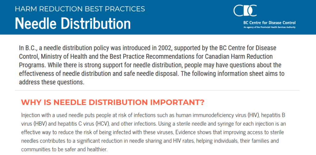 BC Centre for Disease Control Harm Reduction Best Practices Needle Distribution